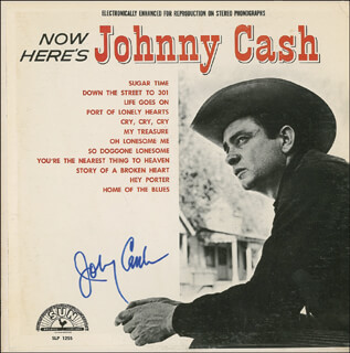 JOHNNY CASH - RECORD ALBUM COVER SIGNED