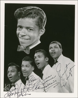 LITTLE ANTHONY AND THE IMPERIALS - AUTOGRAPHED SIGNED PHOTOGRAPH CO-SIGNED BY: LITTLE ANTHONY AND THE IMPERIALS (ANTHONY GOURDINE), LITTLE ANTHONY AND THE IMPERIALS (CLARENCE COLLINS), LITTLE ANTHONY AND THE IMPERIALS (ERNEST WRIGHT), LITTLE ANTHONY AND THE IMPERIALS (HAROLD JENKINS)