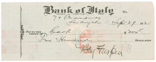 BEN TURPIN - AUTOGRAPHED SIGNED CHECK 09/29/1921