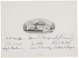 Autographs: THE WARREN E. BURGER COURT - SUPREME COURT ENGRAVING SIGNED CO-SIGNED BY: ASSOCIATE JUSTICE BYRON R. WHITE, ASSOCIATE JUSTICE LEWIS F. POWELL JR., CHIEF JUSTICE EARL WARREN, ASSOCIATE JUSTICE WILLIAM O. DOUGLAS, ASSOCIATE JUSTICE POTTER STEWART, ASSOCIATE JUSTICE WILLIAM J. BRENNAN JR., ASSOCIATE JUSTICE THURGOOD MARSHALL, CHIEF JUSTICE WILLIAM H. REHNQUIST, ASSOCIATE JUSTICE HARRY A. BLACKMUN