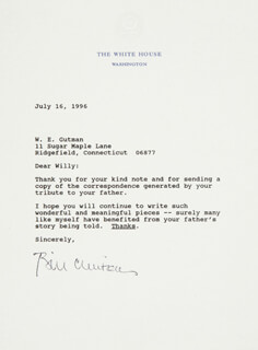 PRESIDENT WILLIAM J. BILL CLINTON - TYPED LETTER SIGNED 07/16/1996