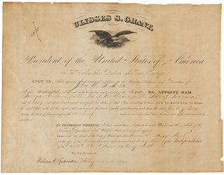 PRESIDENT ULYSSES S. GRANT - CIVIL APPOINTMENT SIGNED 03/14/1873 CO-SIGNED BY: WILLIAM A. RICHARDSON