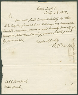 WILLIAM EUSTIS - AUTOGRAPH LETTER SIGNED 07/15/1812