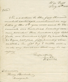 Autographs: WILLIAM EUSTIS - AUTOGRAPH LETTER SIGNED 07/10/1812
