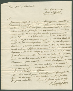Autographs: MAJOR GENERAL HENRY DEARBORN - AUTOGRAPH LETTER SIGNED 06/01/1808