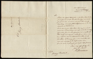 Autographs: MAJOR GENERAL HENRY DEARBORN - AUTOGRAPH LETTER SIGNED 08/10/1807