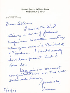 CHIEF JUSTICE WARREN E. BURGER - AUTOGRAPH LETTER SIGNED 07/31/1978