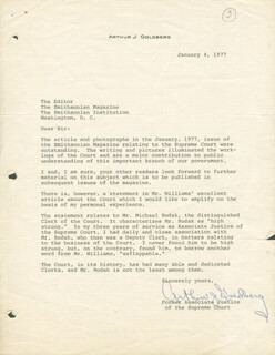 Autographs: ASSOCIATE JUSTICE ARTHUR J. GOLDBERG - TYPED LETTER SIGNED 01/04/1977