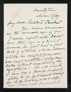 CHIEF JUSTICE MELVILLE W. FULLER - AUTOGRAPH LETTER SIGNED 03/17/1907