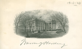 PRESIDENT WARREN G. HARDING - WHITE HOUSE ENGRAVING SIGNED 06/19/1923