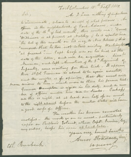 AMOS STODDARD - AUTOGRAPH LETTER SIGNED 02/15/1810