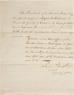 Autographs: SAMUEL DEXTER - MILITARY APPOINTMENT SIGNED 03/02/1801