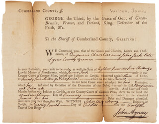 Autographs: ASSOCIATE JUSTICE JAMES WILSON - DOCUMENT SIGNED CIRCA 1773 CO-SIGNED BY: JOHN AGNEW