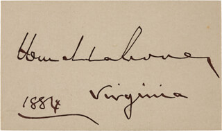 MAJOR GENERAL WILLIAM MAHONE - CLIPPED SIGNATURE 1884