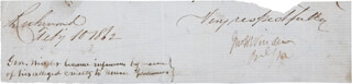 BRIGADIER GENERAL JOHN H. WINDER - CLIPPED SIGNATURE 02/10/1862