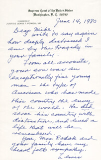 ASSOCIATE JUSTICE LEWIS F. POWELL JR. - AUTOGRAPH LETTER SIGNED 06/14/1980