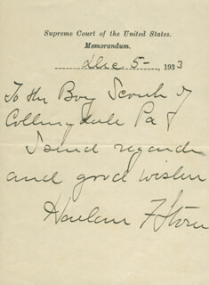 CHIEF JUSTICE HARLAN F. STONE - AUTOGRAPH NOTE SIGNED 12/05/1933
