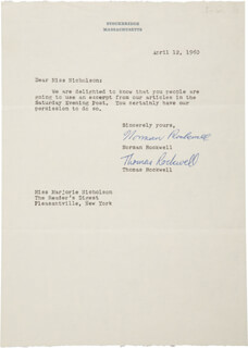 NORMAN ROCKWELL - TYPED LETTER SIGNED 04/12/1960 CO-SIGNED BY: THOMAS ROCKWELL