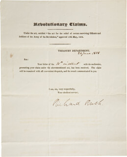 Autographs: RICHARD RUSH - DOCUMENT SIGNED 06/24/1828