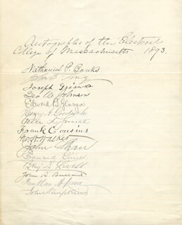 Autographs: MAJOR GENERAL NATHANIEL P. BANKS - DOCUMENT SIGNED CIRCA 1893 CO-SIGNED BY: JOHN SHAW, JOHN D. LONG, JOSEPH GRISWOLD, GEORGE W. JOHNSON, EDWARD BRODIE GLASGOW, HENRY A. GOODRICH, PETER SMITH, FRANK COUSINS, GEORGE W. WALKER, JOHN R. BULLARD, JONATHAN A. LANE, EDWARD GLINES, BENJAMIN S. LOVELL, JOHN SIMPKINS