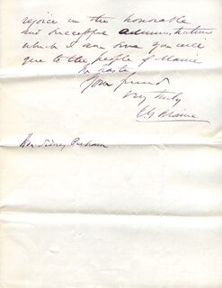 Autographs: JAMES G. BLAINE - AUTOGRAPH LETTER SIGNED 06/17/1870