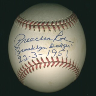 PREACHER (ELWIN C.) ROE - AUTOGRAPHED SIGNED BASEBALL 03/22/1951