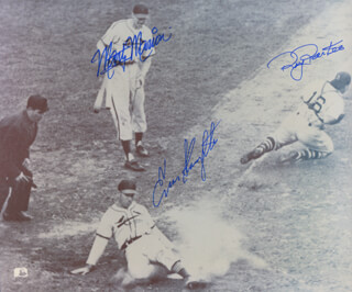 ENOS SLAUGHTER - AUTOGRAPHED SIGNED PHOTOGRAPH CO-SIGNED BY: MARTY THE OCTOPUS MARION, ROY PARTEE