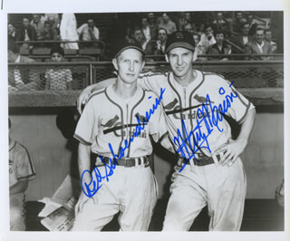 RED SCHOENDIENST - AUTOGRAPHED SIGNED PHOTOGRAPH CO-SIGNED BY: MARTY THE OCTOPUS MARION