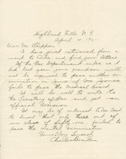 CAPTAIN CHARLES BRADEN - AUTOGRAPH LETTER SIGNED 04/04/1901