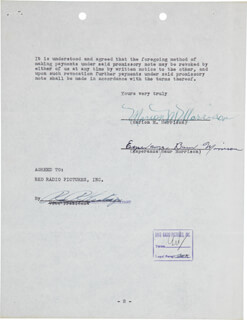 JOHN DUKE WAYNE - DOCUMENT SIGNED 01/05/1951 CO-SIGNED BY: ESPERANZA BAUR