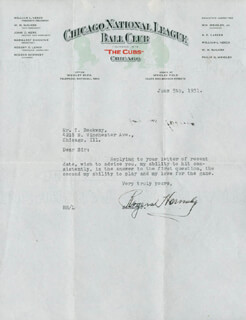 ROGERS RAJAH HORNSBY - TYPED LETTER SIGNED 06/05/1931