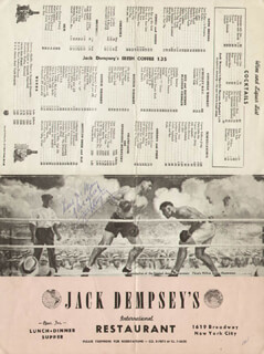 JACK DEMPSEY - INSCRIBED MENU SIGNED