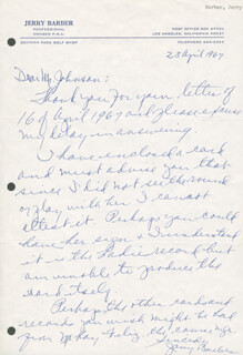 Autographs: JERRY BARBER - AUTOGRAPH LETTER SIGNED 04/28/1967