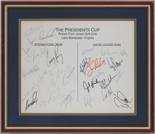 PRESIDENT'S CUP - AUTOGRAPH CO-SIGNED BY: DAVID GRAHAM, STEVE ELKINGTON, JIM GALLAGHER JR., NICK PRICE, COREY PAVIN, FRED COUPLES, FULTON ALLEM, JEFF MAGGERT, DAVIS LOVE III, DAVID FROST, JOHN HUSTON, LOREN ROBERTS, VIJAY SINGH, JAY HAAS, HALE IRWIN, CRAIG PARRY, PHIL MICKELSON, TOM LEHMAN, SCOTT HOCH, BRADLEY HUGHES, ROBERT ALLENBY, FRANK NOBILO, PETER SENIOR, TSUKASA WATANABE, MARK McNULTY