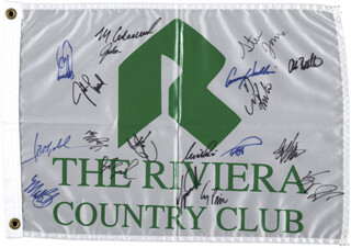 Autographs: RIVIERA COUNTRY CLUB - FLAG SIGNED CO-SIGNED BY: LANNY WADKINS, PAUL AZINGER, LARRY MIZE, MARK CALCAVECCHIA, NICK PRICE, COREY PAVIN, FRED COUPLES, STEVE JONES, VIJAY SINGH, TIGER WOODS, JOSE MARIA OLAZABAL MANTEROLA, ERNIE ELS