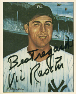 16ee1412f55 Autographs  VIC RASCHI - TRADING SPORTS CARD SIGNED