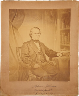 PRESIDENT ANDREW JOHNSON - PHOTOGRAPH MOUNT SIGNED 10/05/1867