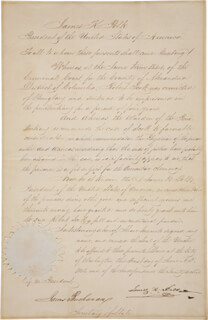 PRESIDENT JAMES K. POLK - PARDON SIGNED 06/01/1848 CO-SIGNED BY: PRESIDENT JAMES BUCHANAN