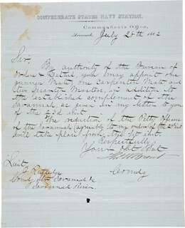 Autographs: COMMANDER THOMAS WILLIAM BRENT - MANUSCRIPT LETTER SIGNED 07/28/1862