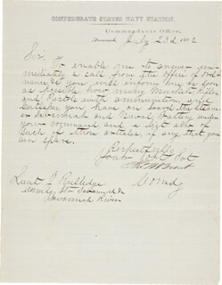 COMMANDER THOMAS WILLIAM BRENT - MANUSCRIPT LETTER SIGNED 07/23/1862