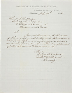 Autographs: COMMANDER THOMAS WILLIAM BRENT - AUTOGRAPH LETTER SIGNED 07/16/1862
