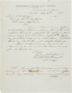 Autographs: COMMANDER THOMAS WILLIAM BRENT - AUTOGRAPH LETTER SIGNED 07/15/1862