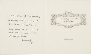 Autographs: ORVILLE WRIGHT - AUTOGRAPH CHRISTMAS / HOLIDAY CARD SIGNED CIRCA 1947
