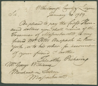 Autographs: GENERAL TIMOTHY PICKERING - AUTOGRAPH LETTER SIGNED 01/30/1789 CO-SIGNED BY: PETER ANSPACH