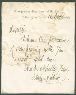 Autographs: MAJOR GENERAL JOHN A. DIX - AUTOGRAPH LETTER SIGNED 12/16/1864