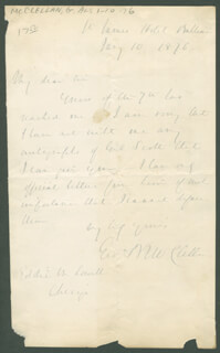 MAJOR GENERAL GEORGE B. MCCLELLAN - AUTOGRAPH LETTER SIGNED 01/10/1876
