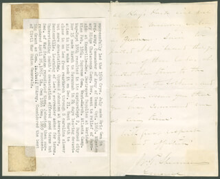 GENERAL WILLIAM T. SHERMAN - AUTOGRAPH LETTER SIGNED 08/02/1875