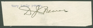 Autographs: ASSOCIATE JUSTICE DAVID J. BREWER - TYPED SENTIMENT SIGNED