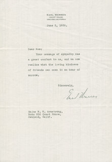 CHIEF JUSTICE EARL WARREN - TYPED LETTER SIGNED