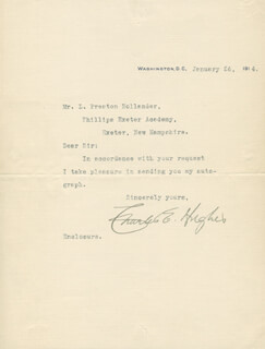 CHIEF JUSTICE CHARLES E HUGHES - TYPED LETTER SIGNED 01/26/1914